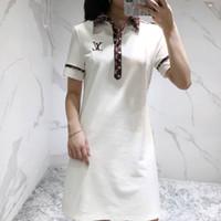 vestido de burbuja con cremallera al por mayor-20190502 medio y largo vestido de manga corta impresa con el mismo alfabeto en red roja