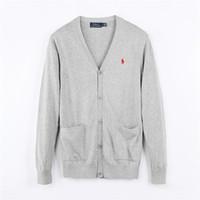 blusas de pescoço de algodão para mulheres venda por atacado-Marca Polo Cardigan Suéter Homens e Mulheres de Manga Longa Tops Londres New York Chicago Camisa Polo Moda Masculina Camisola Alta Qualit