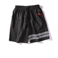 plaj pantolon desen toptan satış-Erkek Şort Yaz Tasarımcı Marka Şort Desen Baskılı Mens Rahat Düz Renk Plaj Kısa Pantolon 2019 Yeni Spor Kısa Pantolon