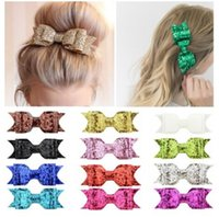 Wholesale baby girl gifts free shipping resale online - Woman Glitter Hair Bows Girl Hair Pins Bowknot Charming Accessories Baby Hairpins Hair Clips Headwear Boutique Gifts