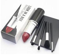 Wholesale black up lipstick resale online - Brand Make Up Look In A Box Basic Brush set Brushes Set with Big Lipstick Shape Holder Mc Makeup Tools