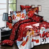 ingrosso set di regali di natale regali di natale-Set di biancheria da letto di Natale serie King Twin Queen Size rosso biancheria da letto completo con federa 2 / 3pcs regalo per bambini di copriletto