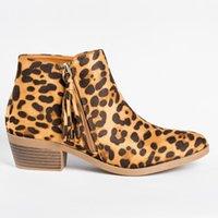 püskül düz topuk ayakkabıları toptan satış-Kadınlar Sonbahar Kış Retro Leopar Bilek Martin Boots Püskül fermuar Düz Kama Kısa Çizme Şövalye Bayanlar Noel Boots Kalın topuk ayakkabı