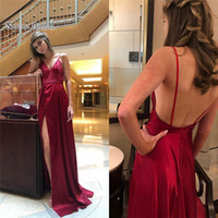 Wholesale sexy summer wedding dresses online - 2019 Spaghetti With Aline Evening Dress Sexy Backless and Split High end Customed Vestidos De Novia Party Gown