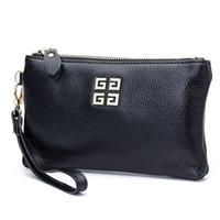 brieftasche design für damen großhandel-Neues Design Aus Echtem Leder Frauen Tageshandtaschen Handtaschen Frauen Berühmte Marken Damen Wristlet Clutch Wallet Abend Party Tasche