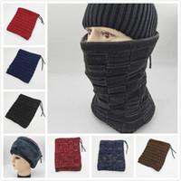 kızlar fular stili toptan satış-Moda Örme Kadife Sonbahar Kış Kız Erkek Ile Kap Eşarp Sıcak Şapka 2 Stil 5 Renkler Kış Kap Çok Fonksiyonlu Kafatası Caps