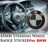 значок эмблемы оптовых-45 ММ Черный 3D Углеродного Волокна Винил BMW РУЛЕВОЕ КОЛЕСО Клей Striker ЛОГОТИП эмблема Badge Stick