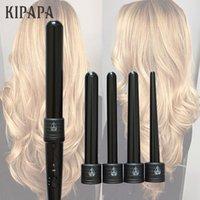estilos de tong al por mayor-KIPAPA 5P Rizador de pelo de hierro que se encrespa 9 32MM Rizos profesionales 0.35 a 1.25 pulgadas Herramientas de estilo de cerámica Tong de pelo intercambiable KIPAPA