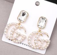 modeschmuck perlenohrringe großhandel-Mode Buchstaben G Ohrringe Gold Farbe Bolzenohrrings mit Perle Für Frauen Mädchen Partei Schmuck