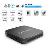 mini lecteur multimédia android achat en gros de-2019 S10 MINI TV BOX 2 Go 16 Go Quad Core Amlogic S905W Android 8.1 TV Box arabe Lecteur multimédia IPTV P MXQ PRO TX3 X96