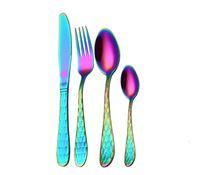 yemek takımı ayarı toptan satış-Pratik Butik Altın Gökkuşağı Siyah Çatal Set Paslanmaz Çelik Yemek Sofra Gümüş Setleri Yemek Bıçağı Ve Çatal Kaşık