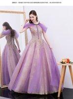 vestido de véu roxo venda por atacado-100% real luxo roxo véu de ouro bordado beading tribunal vestido de baile stuido princesa medieval dress / victorian belle ball