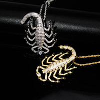 Wholesale gold scorpion pendant necklace for sale - Group buy Hip Hop Necklaces Jewelry Fashion Luxury Men Women Bling Zircon K Gold Plating Copper Scorpion Punk Pendant Necklaces