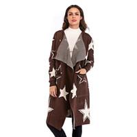 свитер с капюшоном оптовых-Sweater Coat Long 2018 New Autumn Winter Overcoat Women Cardigans Knit Top Outwear Lapel Trench Coat Star Cardigan Overcoat
