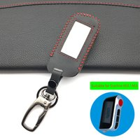 botón remoto de alarmas al por mayor-Estilo de la moda 100% caja del cuero genuino para el coche de alarma del mando a distancia para Starline A93 A63 A93 4 botones de proteger la cáscara