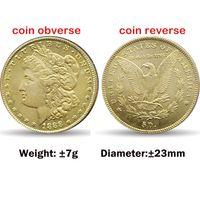 American copy coins decoration liberty Morgan 10pcs 23mm golden coins art craft
