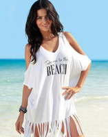 Wholesale Girl Off Shoulder Dresses Letter Printed Beach Dress Women Summer Tassel Dress Bikini Plus Size Loose Beach Dress GGA3374