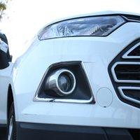 ford do cromo adesivo venda por atacado-Potro Queima de ABS Chrome Car Head Luzes Tampa Da Lâmpada de Nevoeiro Guarnição Etiqueta para Ford Ecosport 2013 2014 2015 2016 2017 Acessórios