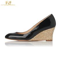 дюймовые насосы на каблуках оптовых-Black Patent 3 Inches Straw Wedges Heels Round Toe Comfortable Slip On Summer Pumps Office Lady Women Shoes Customization