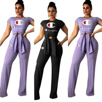 Wholesale sheer yoga pants online - 2019 Champions Letter Brand Tracksuit Women Bow Tie T Shirts Wide Leg Loose Pants pieces Designer Outfits Sports Joggers Clothes Set A3137