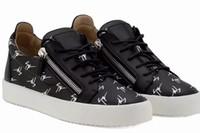 hombre zapatos de cremallera al por mayor-2019 Italia Lujo Zanotti Matching Zipper Hombres y mujeres Low Top Flat Shoes Zapatos de cuero genuino para hombre Zapatillas de deporte de diseñador 35-47