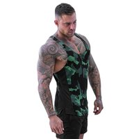 Wholesale camo vests for men resale online - Men Camo Vest Breathable Fast Dry Sweat Absorbing Sports Tops for Summer GDD99