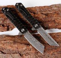 cuchillas de microtecnología al por mayor-EDC Damasco cuchilla de escalada al aire libre navaja cuchillo plegable portátil para acampar defensa propia herramienta Microtech Mini hombre regalo cuchillos de caza