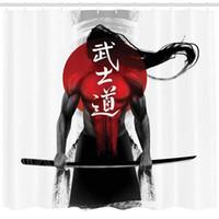 dekor savaşçısı toptan satış-Japon Dekor Koleksiyonu, Sunburst Arka Plan üzerinde Samuray Savaşçı Rakam Ronin Japonya Yerli Savaş Tema, Polyester Kumaş Banyo