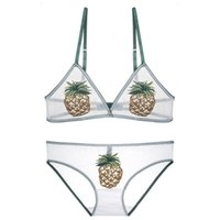 Wholesale Pineapple embroidery bra and panty set Ultra thin lingerie set underwear women see through bra sexy lingerie sets soft bralette