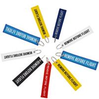 quitar etiquetas al por mayor-Llavero QUITAR ANTES DEL VUELO Bordado Color de la Lona Tejido Opcional Etiqueta de Equipaje Etiqueta Llavero Regalo de Aviación Para Adultos Niños