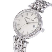 china relógio de quartzo em aço inoxidável venda por atacado-Mulheres De Luxo China Relógio De Pulso De Quartzo-Bateria De Designer Senhoras Vestido À Prova D 'Água De Aço Inoxidável De Diamante De Prata De Ouro T / T Relógios