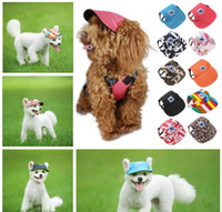 Wholesale dogs hats resale online - Dog Hat With Ear Holes Summer Canvas Baseball Cap For Small Pet Dog Outdoor Accessories Hiking Pet Products Styles