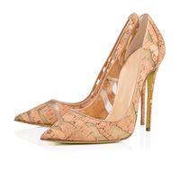 hölzerne heeled schuhe großhandel-Designer-Schuhe 2019 neue Mode Schuhe Holz Ausschnitte spitz Zehen hohe Ferse Beleg auf Frauenpumpen chic Stiletto Ferse Party Schuhe 12cm