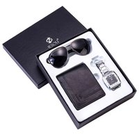 Wholesale christmas glasses sunglasses for sale - Group buy Mens Watches Luxury Steel Quartz Watch Folding Leather Wallet Fashion Sunglasses Men Gift Set for Christmas Valentine Fast Ship