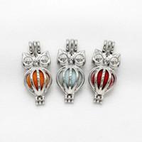 difüzör klozet takılar toptan satış-10 adet Gümüş Sevimli Mini Baykuş Inci Kafes Takı Yapımı Charms Parfüm Uçucu Yağ Difüzörü Lockets Kolye Aroma Kolye