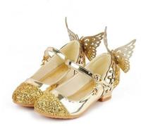 zapatos de tacón bajo para niñas al por mayor-Precio Bebé Princesa Niñas Zapatos Sandalias Para Niños Brillo Mariposa Tacón bajo Niños Zapatos Niñas Fiesta Enfant Meisjes