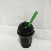 Wholesale starbucks cup oil rig resale online - 2019 Starbucks Bongs Water Pipes Glass Bubbler mm joint Black Starbuck Cups Hookahs Smoking Shisha Dab Oil Rig