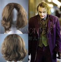 anime escuro venda por atacado-Batman Dark Knight Joker Palhaço Perm Castanho Escuro Curto Peruca Anime Encaracolado