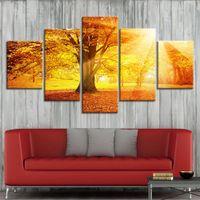 Wholesale landscape posters resale online - Gold Tree Sunset Canvas Pictures Framework HD Prints Poster Piece landscape Paintings Modular Home Decoration Wall Art