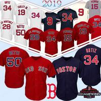 ted baseball großhandel-41 Chris Sale 50 Mookie Betts Boston Red Sox Baseball-Shirt 15 Dustin Pedroia 9 Ted Williams 16 Andrew Benintendi 28 J D Martinez J. D.