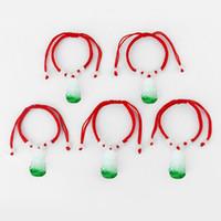 ingrosso braccialetti fortunati cinesi di fascino-10PCS Green Buddha Bodhisattva pendente con perline bianche Corda rossa Corda braccialetto fortunato cinese orientale gioielli regolabile