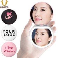 ingrosso mini specchi cosmetici-100pcs / lot logo personalizzato trucco di illuminazione a LED specchio Protable Pocket specchio compatto mini borsa Cosmetic Mirror il marchio su misura