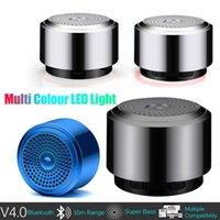 mini caixa som usb toptan satış-Mini hoparlör Mini Bluetooth Hoparlör USB Led Işık Kablosuz Taşınabilir Müzik Kutusu Subwoofer Küçük taşınabilir caixa de som