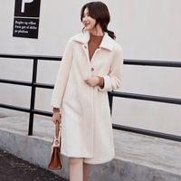 ingrosso nuovi tessuti per la faccia-Litvriyh moda nuove donne cappotto tessuto double face cappotto lungo in lana cappotto cardigan donna colletto rovesciato soprabito giacca outwear