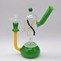 ingrosso hookahs unici-Unico in vetro Bong Tubi per l'acqua in linea Percolatore di polverizzatori Dab Righe Stile DNA Spinning Bubble Oil Rigs 8 pollici Beaker Bong Smoking Narghilè Pipa