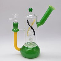 Wholesale unique hookahs resale online - Unique Glass Bongs Water Pipes Inline Turbine Percolator Dab Rigs DNA Style Spinning Bubble Oil Rigs inch Beaker Bong Smoking Hookahs Pipe
