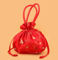 Wholesale card handle resale online - DHL120pcs Chinese Embroidered floral Large Wedding Party Gift Bags with Handles Coin Purse