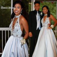 Wholesale prom dress taffeta halter resale online - A line Halter Beads Taffeta Pockets Sleeveless Prom Dresses High End Quality Party Dress In Hot Sales