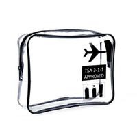 sacs d'avion achat en gros de-Simple Hot Fashion clair Sac TSA approuvé Carry Toiletry Voyage sur l'aéroport Airline Bag Compliant cosmétiques Make Up Zipper Pouch