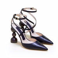 Wholesale wooden heeled shoes resale online - Brand Sandals Slides designer shoes wedding heels shoes Les Camil Wooden Round Pointed Toes Strap suede pumps with geometric heel Sandals